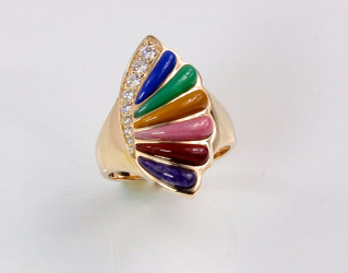 R 755 Multi color inlay ring has 22 points F/VS pave` diamonds and inlay of lapis, chrysophrase, yellow jasper, rhodonite, red jasper, and sugilite set in 14kt yellow gold.