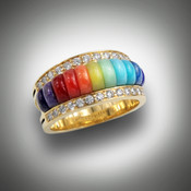 RB-3dd ring has inlay stones of lapis, turquoise, light chrysoprase, verde antique, orange coral, red coral, red jasper, light and dark sugilite with 2 rows of F/VS pave` diamonds set in 14kt yellow gold.