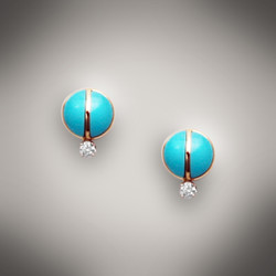ER 145D earrings have turquoise for the inlay with a 3 point F/VS diamond set in 14kt yellow gold.  They can also have black jade, or mother of pearl for the inlay.