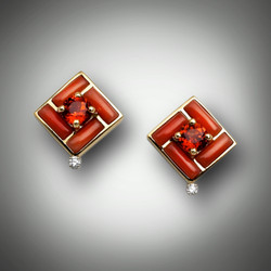 ER 129 earrings have a 5mm round garnet with red coral inlay and a 3 point F/VS pave` diamond on the bottom.
