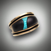 RB1 men's ring has hand carved black jade and turquoise inlay with the suede finish set in 14kt yellow gold.