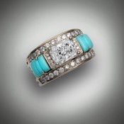 This custom R 644-971 has a 8x6mm renzite stone as the center with 32 pave' F/VS round diamonds on the boarders and hand carved turquoise with two notched lines as the inlay stones set in 14kt yellow gold.