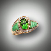 R 510 has a 7x5mm oval tsavorite garnet, with two swirls of 24 points of F/VS pave` diamonds and hand carved variscite inlay stones set in 14kt yellow gold.