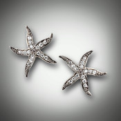 ER-PND-356 are 14 kt white gold starfish with 12 points of F/VS pave` diamonds each. You can have them made in 14kt yellow gold.