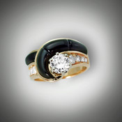 R 255 with a 1 ct round diamond and hand carved black jade as the inlay stones.