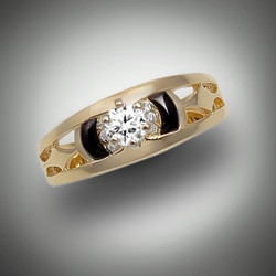 R 274 is pictured with a .25 point diamond and 6 pave` diamonds with hand carved black jade set in 14kt yellow gold.  We can set it with your diamond or help you find the right diamond for you.