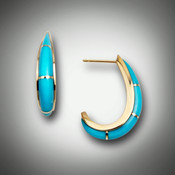 ER 208 earrings have sleeping beauty turquoise with gold bars and are half circle one inch long set in 14kt yellow gold.