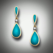 ER 362/39 earrings have sleeping beauty turquoise with a 0.025 pave` F/VS diamond in the center and are almost one inch long set in 14kt yellow gold.