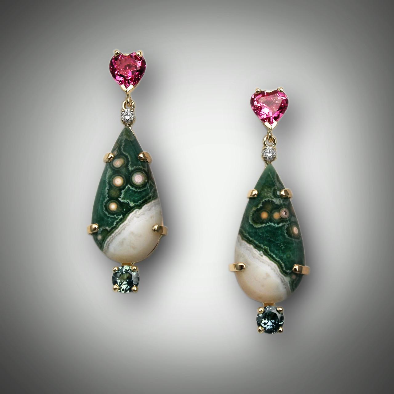 Gemstone Earrings Tourmaline and Picture Jasper Earrings