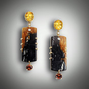 ER Brown/Black Jasper earrings have a 10x8mm oval citrine, 4 point F/VS diamond, 1.5 point bezel set F/VS diamond, 35mm brown/black jasper and a 5.5 hessonite garnet set in a 14kt yellow gold frame.