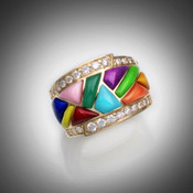 R 1160 has inlay pieces of red coral, orange coral, lapis, turquoise, gaspeite, pink rhodonite, sugilite, yellow turquoise, yellow jasper, and chrysoprase with two borders of 26 pave F/VS diamonds total of 56 points set in 8.32 grams 14kt yellow gold.