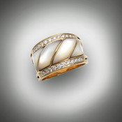 RB32 dd Mother of pearl inlay with two rows of F/VS diamonds set in 14kt yellow gold.