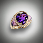 A purple Heart ! Centered by a sizzling Amethyst Heart, surrounded by fine white pave' set Diamonds with Lavulite, Phosphosiderite, and Pink  Rhodinite,