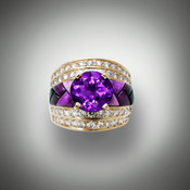 This is our R-1034 Purple Passion Ring featuring a 10mm Round Amethyst with 52 pave diamonds 1.40 tcw and 8 pcs Sugilite and Black Jade.