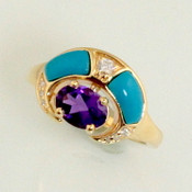 R558 has a 7x5mm oval amethyst with turquoise inlay and 0.05 and 0.025 diamonds equals total of 10 points set in 14kt yellow gold 4.94 grams.