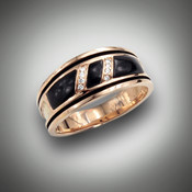 RB 3 men's ring has two rows of 0.08 points of F color VS clarity pave` diamonds with hand carved black jade set in 14kt rose gold.