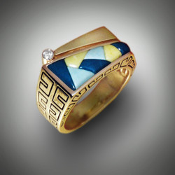R-825 With an approx. .07 pt Diamond inlayed with Blue Mt Jasper, Variscite and Verde Antique set in 14k Yellow Gold.