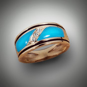 R 821 321 with Pave Diamonds and Turquoise