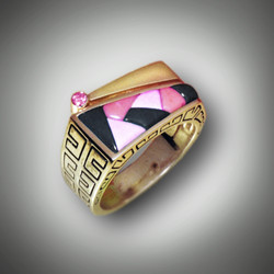 R-825 With an approx. .07 pt Diamond inlayed with 2shades of pink Rhodonite and Black Jade  set in 14k Yellow Gold.