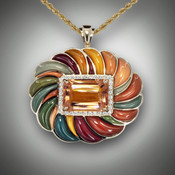 The Arianna Morganite Pumpkin Pendant featuring a 12.5mm Morganite stone with 35 F/VS Pave Diamonds surrounded by 22 hand sculpted stones of Yellow, Maroon, Teal, Kaki, Light Green, Green, Blue Mountain, Light Orange, and Dark Orange Jaspers set in 14kt Yellow Gold.