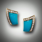 Turquoise inlay with 28 pave' F-VS diamond boarder of 0.60pts.  Earrings are set in 14kt yellow gold.  Available in different colors.