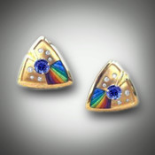 ER 136 Tanzanite and Rainbow inlay stones