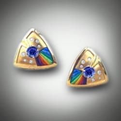 ER 136 Tanzanite and Rainbow inlay stones
