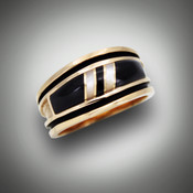RB 3pp has Black Jade and Mother of Pearl provide the distinction and contrast set in 14kt yellow gold.