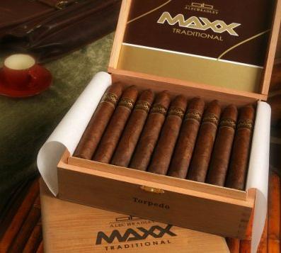 Shop Now Alec Bradley MAXX Corona Cigars - Natural Box of 20 --> Singles at $6.44, 5 Packs at $27.35, Boxes at $109