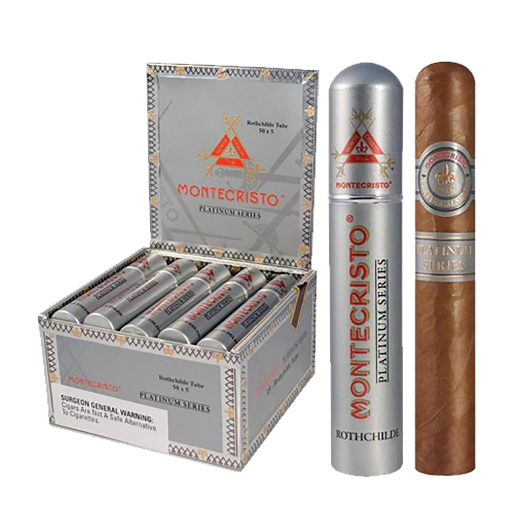 Montecristo Platinum Churchill Tubes Cigars - Natural Box of 15