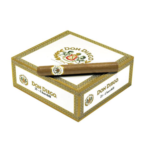 Shop Now Don Diego Churchill Cigars - Natural Box of 27 --> Singles at $8.83, 5 Packs at $33.13, Boxes at $151.21
