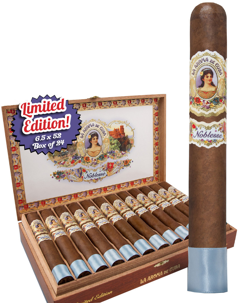 Shop Now La Aroma de Cuba Noblesse Limited Edition Toro Cigars - Natural Box of 24 --> Singles at $16.00, 5 Packs at $76.99, Boxes at $344.99