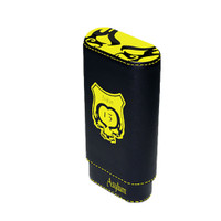Asylum 13 Super Size Leather Cigar Case - Yellow and Black