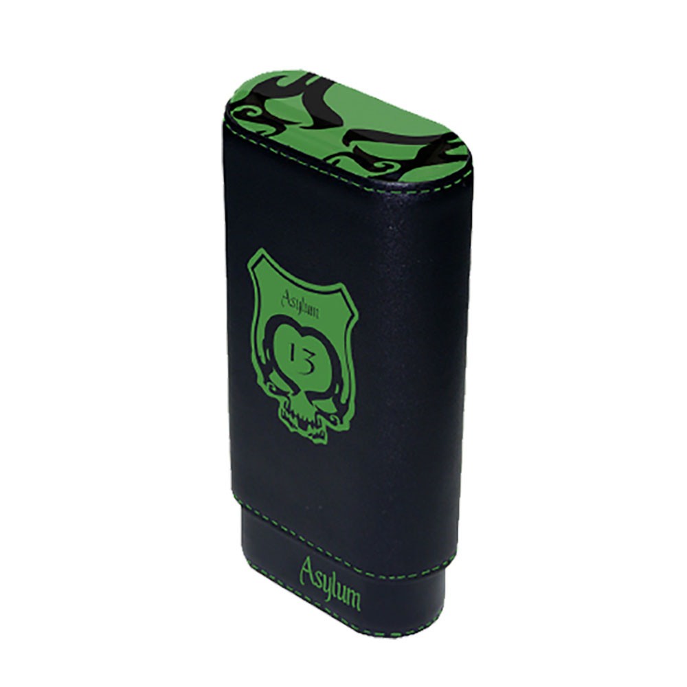 Asylum 13 Super Size Leather Cigar Case - Green and Black