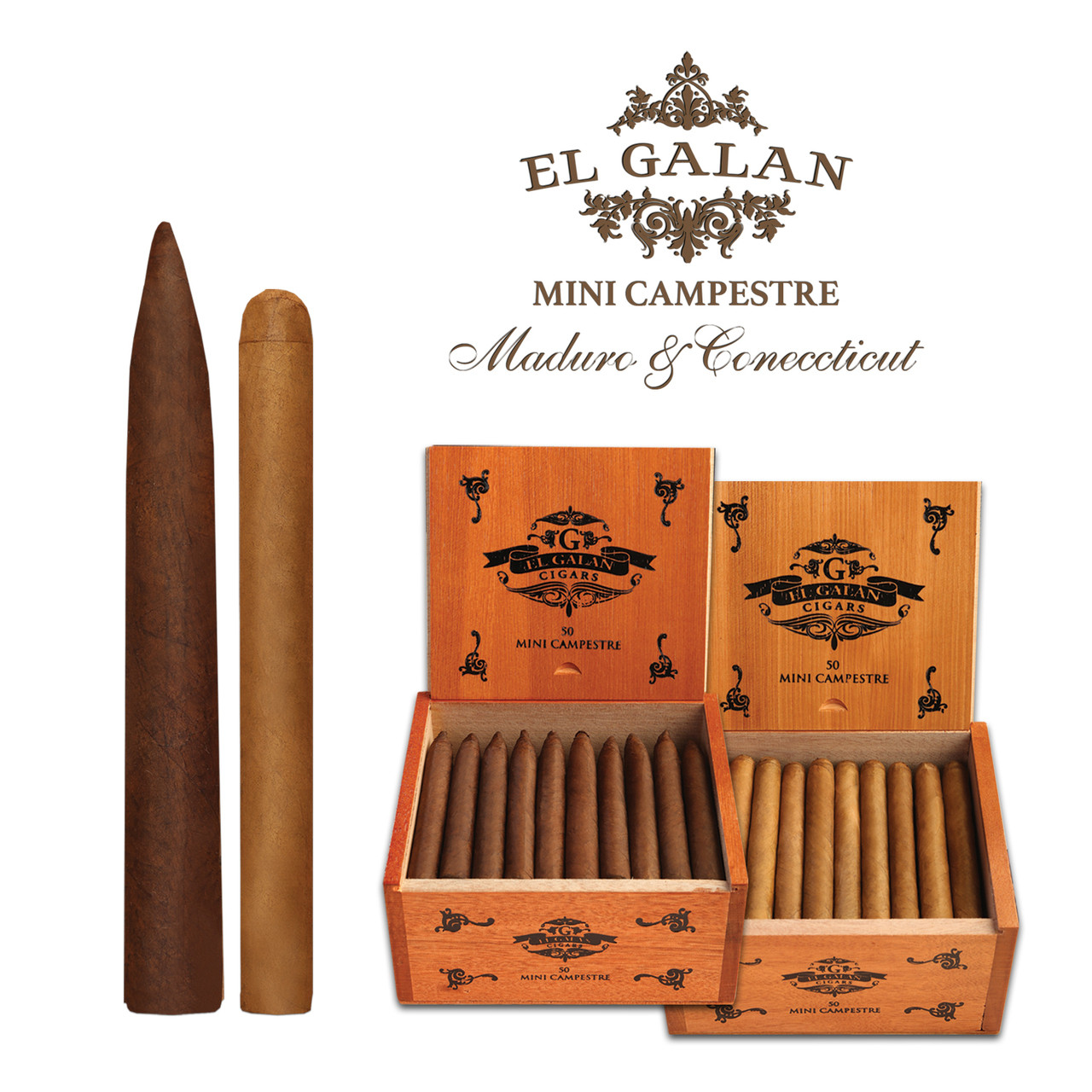 Shop Now El Galan Mini Campestre Torito Cigars - Natural Box of 50 --> Singles at $1.36, 5 Packs at $6.50, Boxes at $61.95