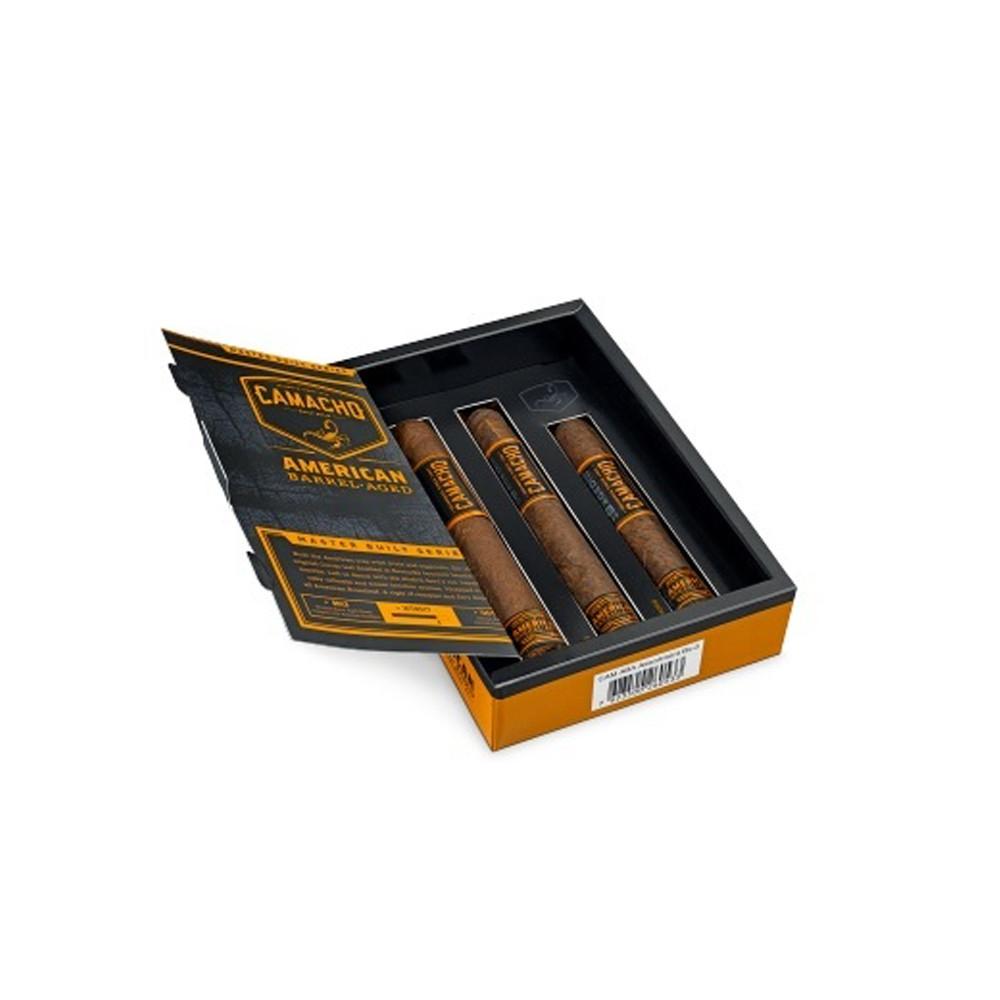 Camacho American Barrel Aged Assortment Cigars - Dark Box of 3