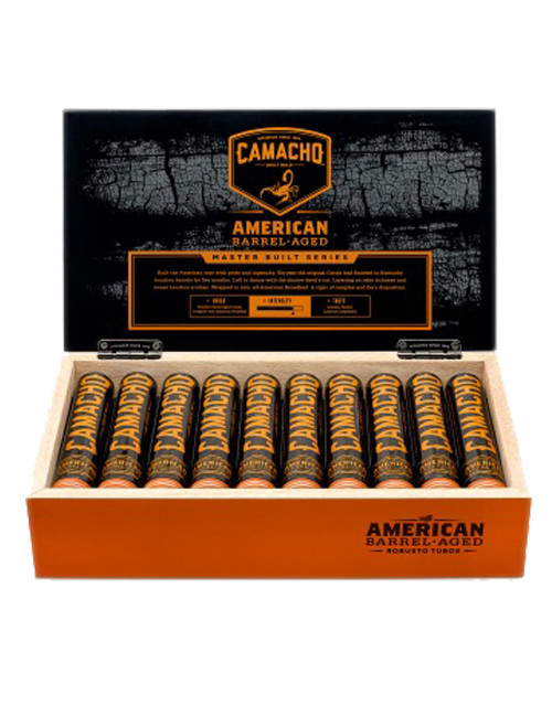 Camacho American Barrel Aged Robusto Tubes Cigars - Dark Box of 20
