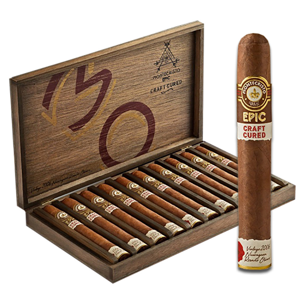Montecristo Epic Craft Cured Toro Cigars - Natural Box of 10