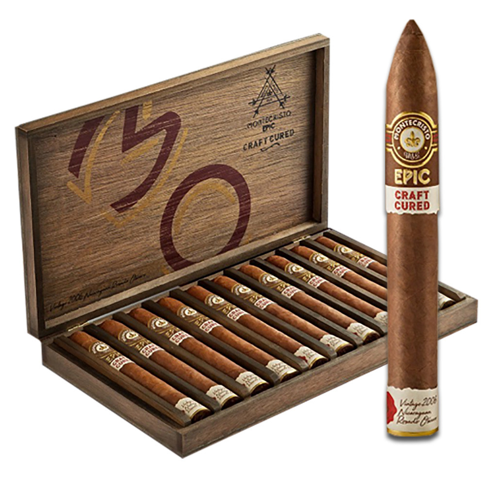 Montecristo Epic Craft Cured Belicoso Cigars - Natural Box of 10