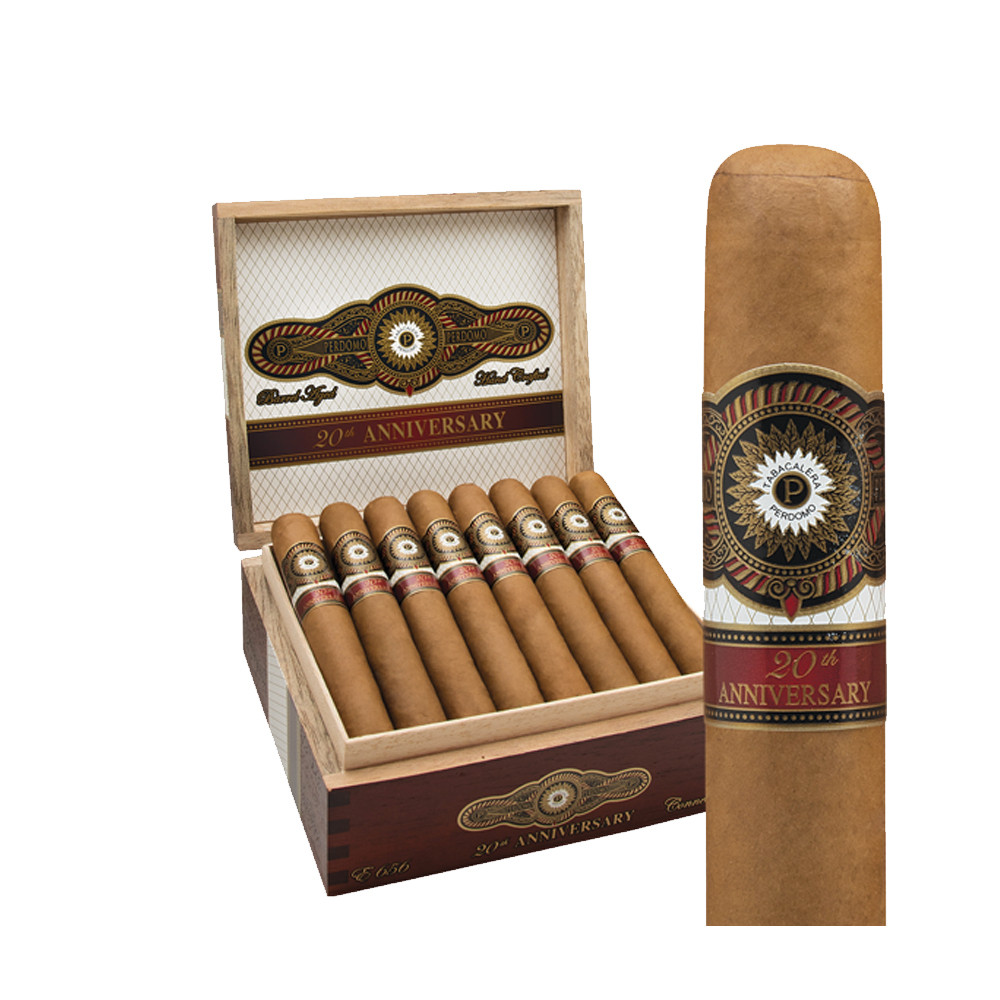 Perdomo 20th Anniversary Connecticut Robusto Cigars - Natural Box of 24
