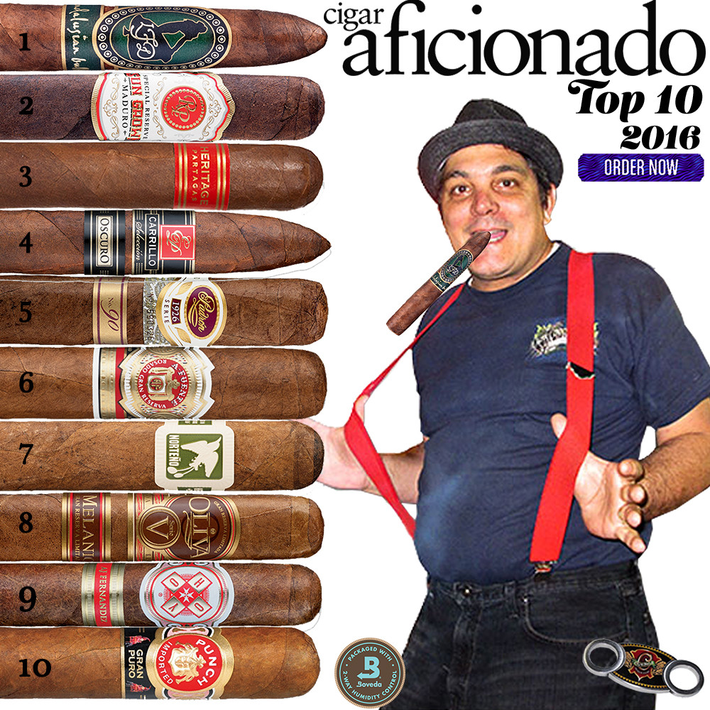 2016 Top 10 Cigars by Cigar Aficionado. Top 10 No 3 and No 9 are replaced by Non Cuban Smokes.