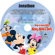 Disney Mickey Minnie and Goofy Sing a Long Personalized Kids Music CD