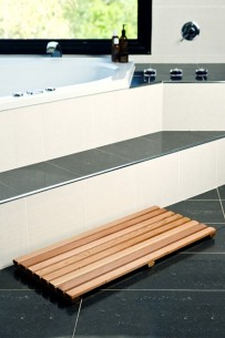 cedar bath mat and bath caddy