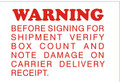 "2 x 3"" Shipping Labels - ""Warning"""