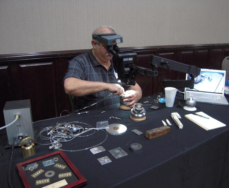 Chris DeCamillis demonstrates engraving on the EnSet Hand Engraving tool