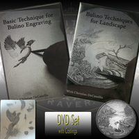 Special DVD training set by Christian DeCamillis teaches Basic Bulino Engraving Technique and Bulino Techniques for Landscape.  Complete with resin study castings.