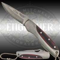 Stainless steel and wood handle 2.5 inch folding knife. Great for engraving and personalization - fits on key chain.