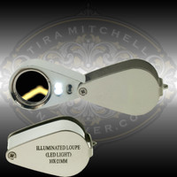 Precision 10x Loupe with built in LED light.  Triple Aplanatic crystal lens system. Chrome plated brass body.