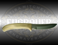 Fixed blade brass handled stainless steel knife with 4 inch blade. Total length 8.375 inches. Perfect for engraving!