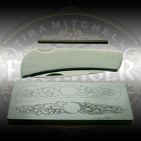 "Christian DeCamillis knife engraving kit including a high speed steel graver, 3.5"" stainless steel knife, and casting that includes a pattern transfer and study impression. Available exclusively at Engraver.com"